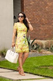 green and yellow floral dresses