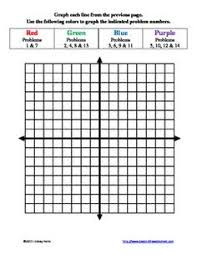 graphing linear equations with color worksheet math pinterest