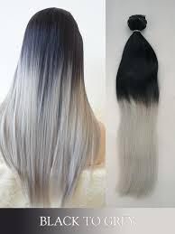 grey hair extensions black to grey colored clip in human hair extensions blogc08
