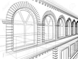 House Architectural Sketch Of House Architectural 3d Illustration Stock Photo