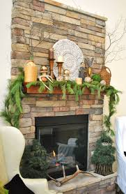decorations rustic stone fireplace with nature themed christmas