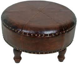 fantastic round leather ottoman shab chic square stool round