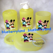 disney mickey mouse bath set of toothbrush holder soap dish soap