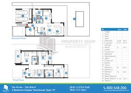 floor plan of yas acres yas island 3 bedroom duplex townhouse type 3y bua 3379