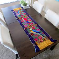 Mexican Table Runner Yellow Base Color Table Runner Woven And Embroidered Exotic Birds