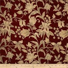 kaslen saxon floral chenille jacquard burgundy from fabricdotcom