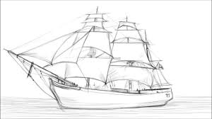 how to draw a sailing ship youtube
