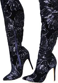 s high boots sequin thigh high navy blue boots dolls kill