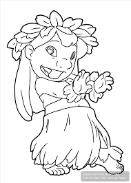 lilo stitch hula coloring pages printable coloring sheets