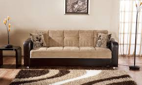 vision benja sleeper sofa in light brown by sunset
