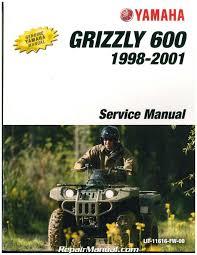 1998 2001 yamaha yfm600 grizzly atv service manual lit 11616 fw