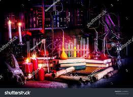 medieval alchemist laboratory halloween fairytale interior stock