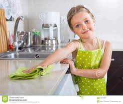 Cleaning Kitchen Cute Little Cleaning At Kitchen Stock Photo Image 58513603