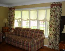 bay window decorations with textile floral sheer curtain and twin