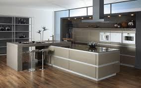 modern galley kitchen design white high gloss countertop brown
