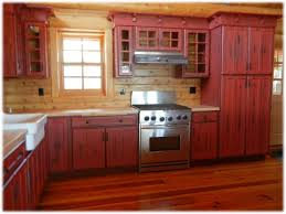 Red Cabinet Kitchen Red Kitchen Cabinets Rustic Kitchen Design