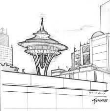 seattle space needle one point perspective drawing sketch coloring