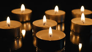 calm of the small candles on the mirror stock footage