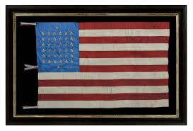 Civil War North Flag Jeff Bridgman Antique Flags And Painted Furniture 38 Star Silk