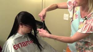 how to do a v cut v cut layering on women u0027s hair youtube