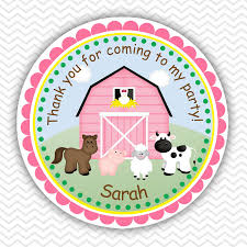 barn yard farm animals pink personalized stickers party favor