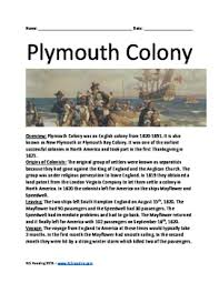 plymouth colony pilgrims history review activities