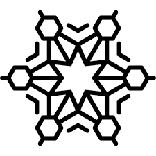 snowflake crystal with six point star at the center icons free