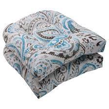 outdoor 2 piece wicker seat cushion set gray turquoise paisley
