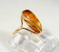 elegant art deco 18k solid gold natural amber gemstone ring solid