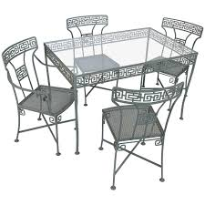 Vintage Wrought Iron Patio Table And Chairs Vintage Wrought Iron Greek Key Dining Table And Chairs At 1stdibs