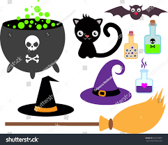 halloween witch pot set accessories little witch cauldron potion stock vector