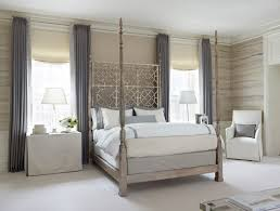 4 Poster Bed With Curtains White 4 Poster Bed With Chevron Nightstands Transitional Bedroom