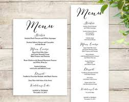 wedding menu templates wedding menu template etsy
