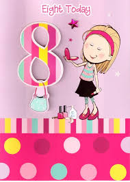 girls 8th birthday 3d 8 eight today card childrens kids quality