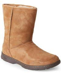 ugg rommy sale ugg rommy suede and shearling lace up mid calf boots in brown lyst