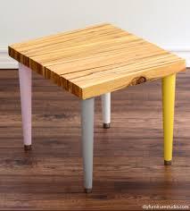 Diy Mid Century Modern Coffee Table Wood Shim Side Table With Tapered Mid Century Modern Legs Diy