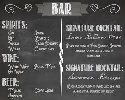 faux chalkboard menu for your open bar lets your guests know