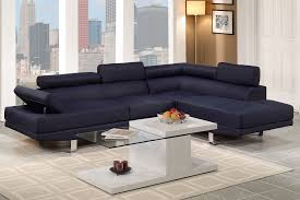 astro collection contemporary dark blue blended linen sectional