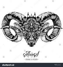 zodiacal aries ink drawing isolated on stock vector 538469299