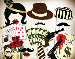 Photo Booth Ideas Gangster Party Photo Booth Props Printable Pdf Prohibition Era