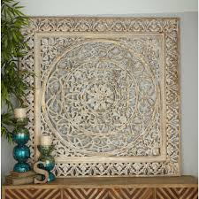 59 in x 59 in rustic decorative carved filigree patterned wooden