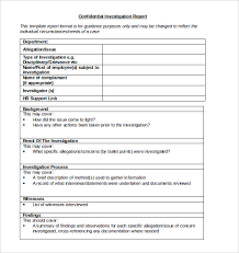 investigation report template investigation report template 20 free sle exle format