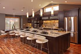 Big Kitchen Design Ideas by Engaging Kitchen Decorating Ideas With L Shape Brown Marble