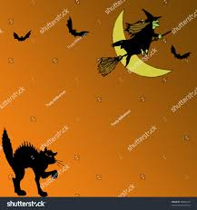 halloween graphic witch flying over moon stock illustration