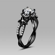 black wedding rings for black flower style cubic zirconia 925 sterling silver black