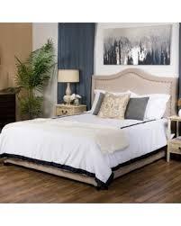Studded Bed Frame Deal Alert Virgil Upholstered Studded Fabric Bed Set By