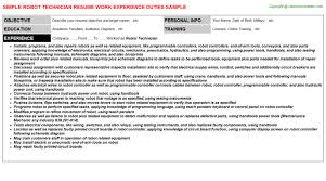 Cable Installer Resume Sample by Robot Technician Resume Sample