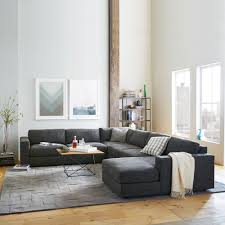 Gray Sectional Sofa With Chaise Lounge by Urban 4 Piece Chaise Sectional Charcoal Heathered Tweed West