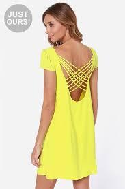 lulus dresses lulu s lulus crosser bright yellow shift dress where to