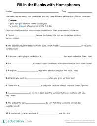 homophones and homographs worksheets education com